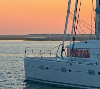 Lagoon 620 BVI Yacht Charter at Sunset