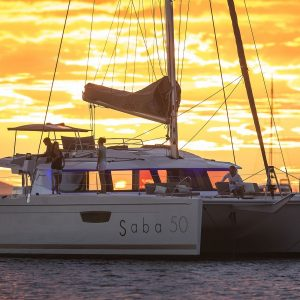 Saba 50 Bareboat Charter at sunset