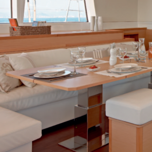 Lagoon 620 all-inclusive yacht charter saloon indoor dining