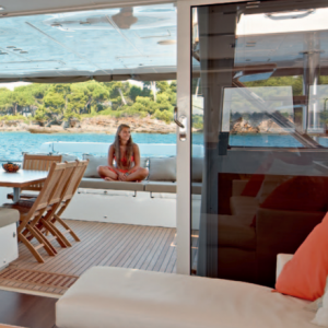 Lagoon 620 from the saloon toward the outdoor dining deck