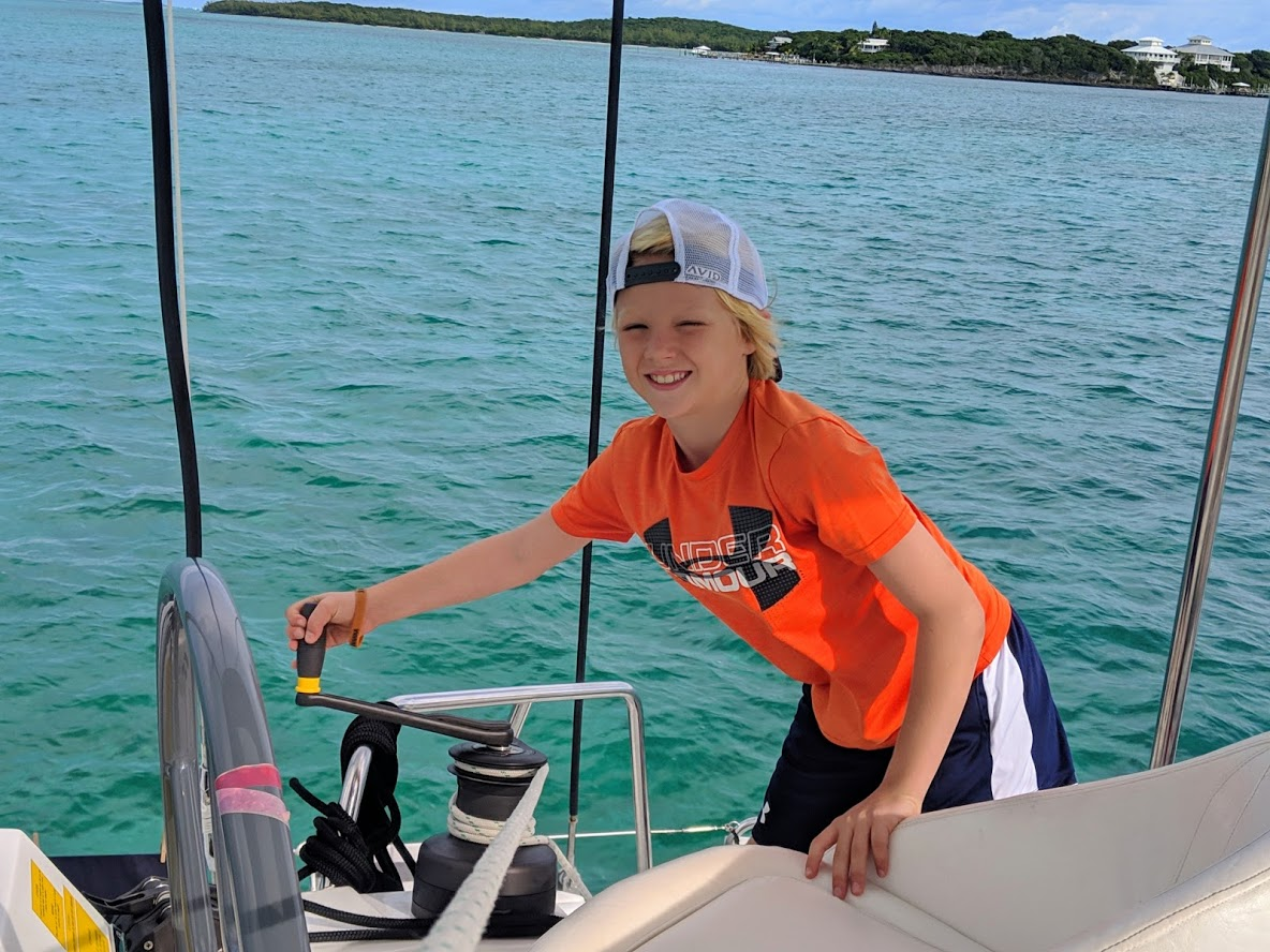 Using a winch during a bareboat charter in the Bahamas