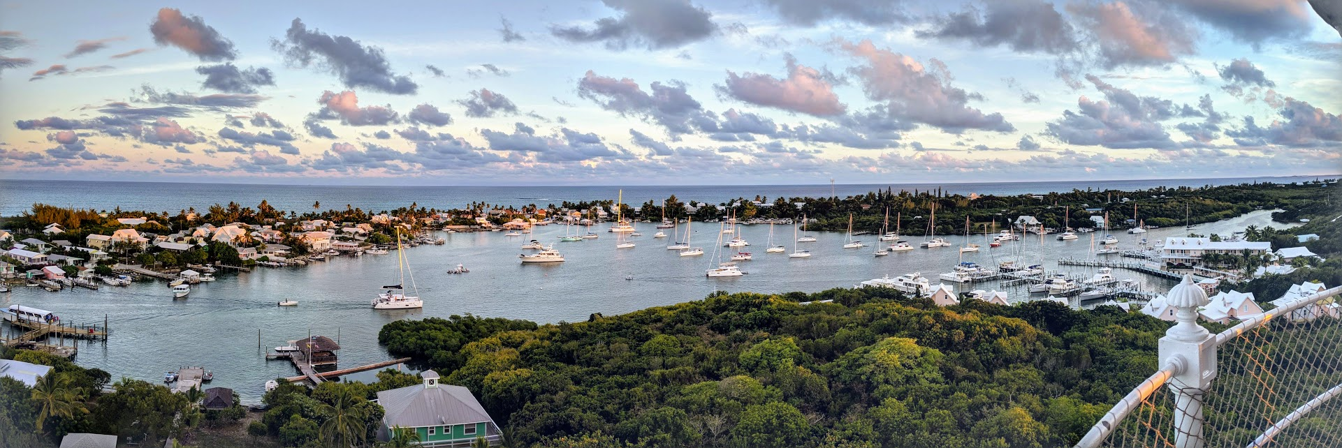 A Bahamian harbor view from the lighthouse
